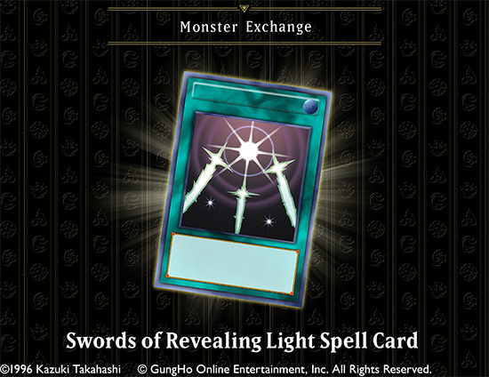 Swords of Revealing Light Spell Card is available in the Monster Exchange in Puzzle & Dragons