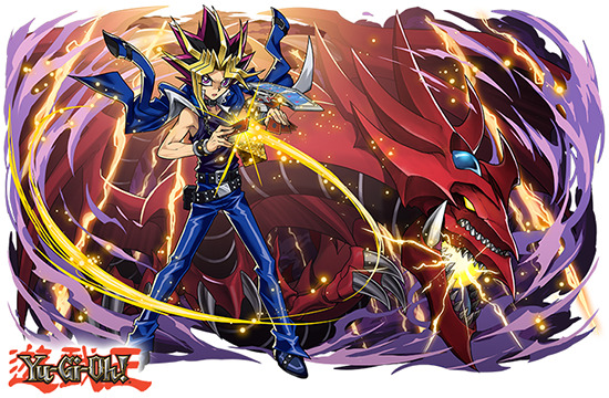 Yami Yugi and Slifer the Sky Dragon in Puzzle & Dragons