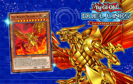 New artwork of The Winged Dragon of Ra, available in Yu-Gi-Oh! Duel Links to celebrate its third anniversary
