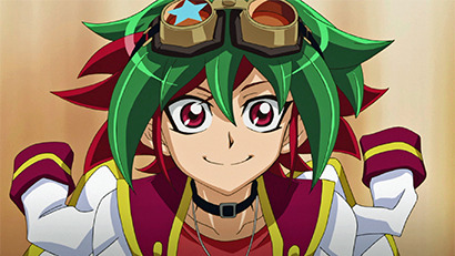 Yuya Sakaki smiling after learning that Gong qualified for the Arc League Championship in Yu-Gi-Oh! ARC-V episode 40