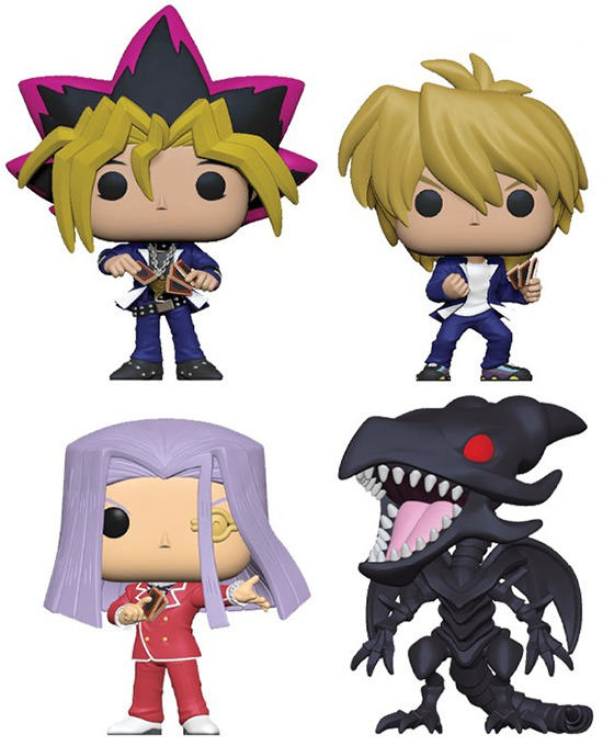 Yugi, Joey, Pegasus, and Red-Eyes Black Dragon Yu-Gi-Oh! Funko Pop! figures