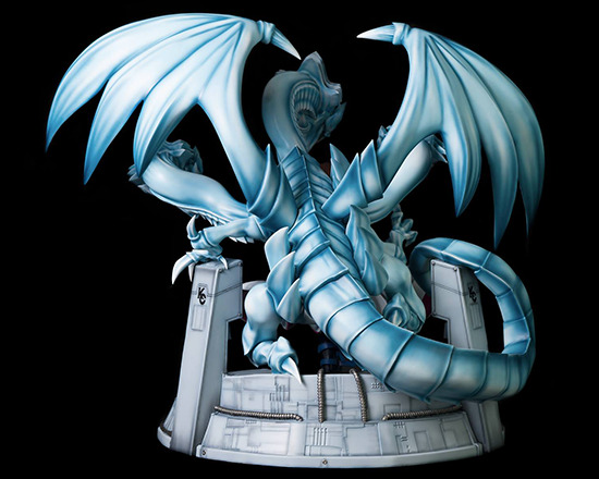 Rear view of Kitsune Statue's Seto Kaiba with Blue-Eyes Ultimate Dragon statue
