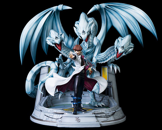 Front view of Kitsune Statue's Seto Kaiba with Blue-Eyes Ultimate Dragon statue