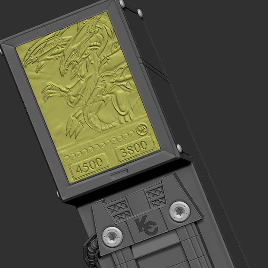 ZBrush 3-D computer model of BEUD card in Kitsune Statue's Seto Kaiba with Blue-Eyes Ultimate Dragon statue