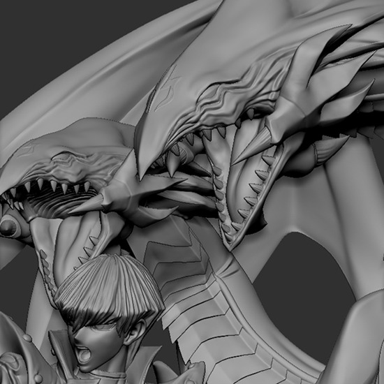 ZBrush 3-D computer model of the faces of Seto Kaiba and Blue-Eyes Ultimate Dragon