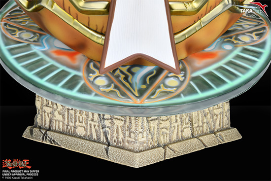 Close-up of the base of Taka Corp Studio's Exodia bust