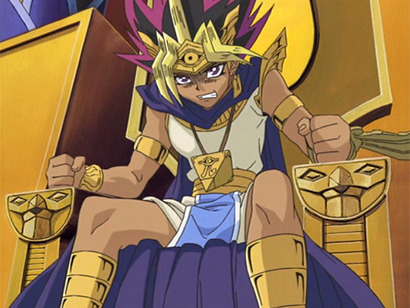 Pharaoh Atem on his throne, angry at Bandit King Bakura in episode 202