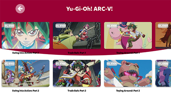 Yu-Gi-Oh! ARC-V in the Kidoodle.TV app