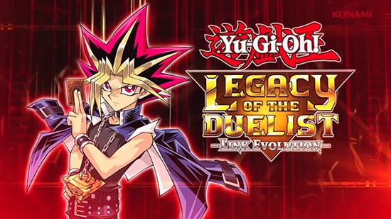 Yami Yugi with the Yu-Gi-Oh! Legacy of the Duelist: Link Evolution logo
