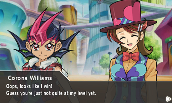 Corona Williams gloating after defeating Yuma Tsukumo in Yu-Gi-Oh! ZEXAL World Duel Carnival for the Nintendo 3DS