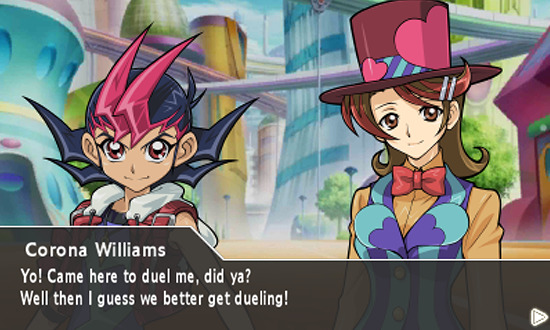 Yuma Tsukumo meeting Corona Williams in Yu-Gi-Oh! ZEXAL World Duel Carnival for the Nintendo 3DS