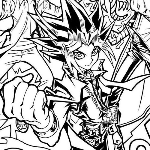 Yugi in Kazuki Takahashi's Yu-Gi-Oh! coloring page
