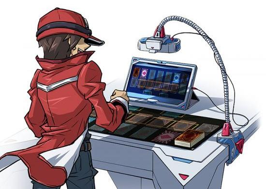 The Vagabond participating in a Yu-Gi-Oh! Remote Duel via webcam