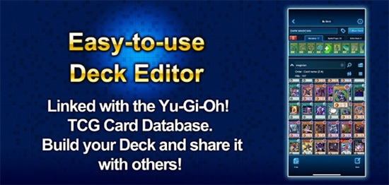 Yu-Gi-Oh! NEURON includes a deck editor linked with the TCG card database