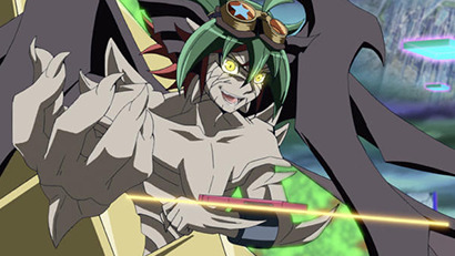Z-ARC with his hand outstretched in Yu-Gi-Oh! ARC-V episode 139