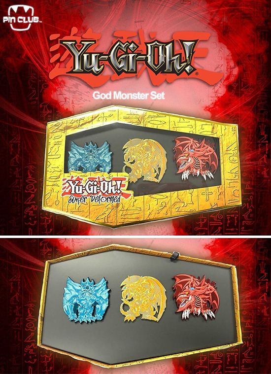 Pin Club's Yu-Gi-Oh! Super Deformed Egyptian God monster pin box, closed and open