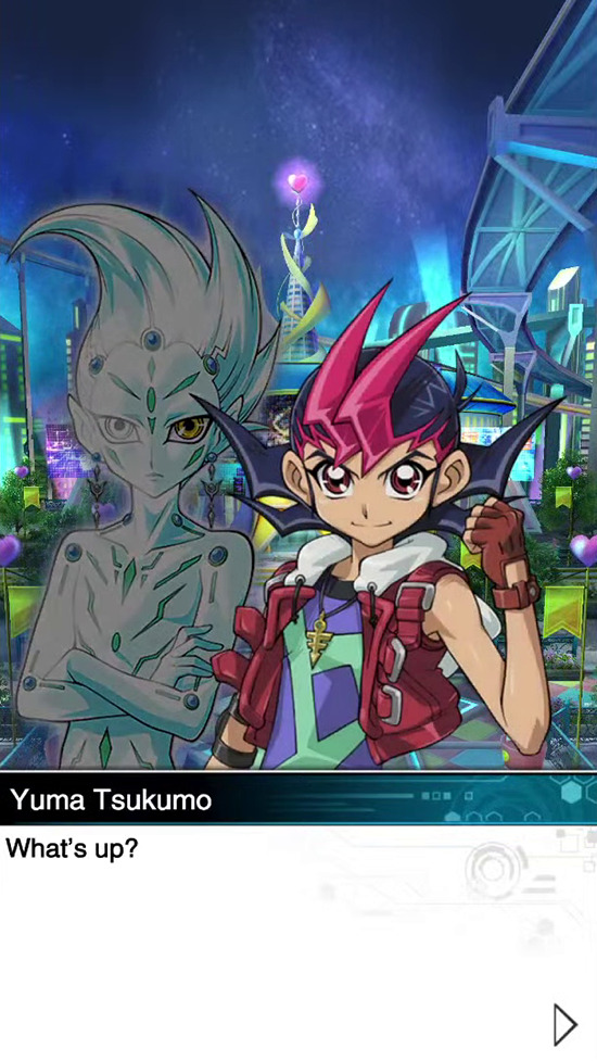 What's up? asks Yuma Tsukumo in Yu-Gi-Oh! Duel Links