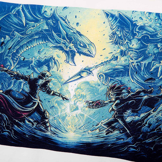 Close-up of the design on the Atsuko T-shirt inspired by Dan Mumford's It's time to duel.
