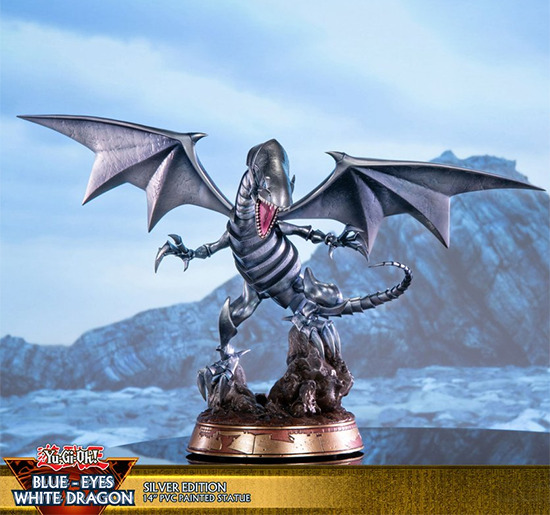 Front view of First 4 Figures' Blue-Eyes White Dragon Standard Silver Edition PVC figure