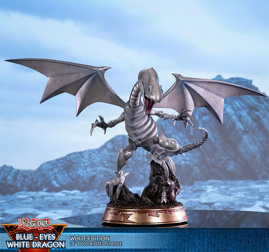 Front view of First 4 Figures' Blue-Eyes White Dragon Standard White Edition PVC figure