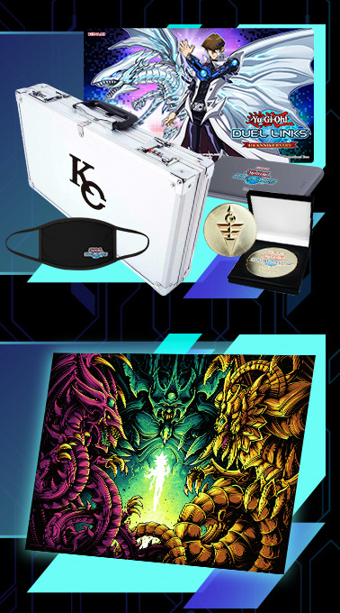 KaibaCorp briefcase with Duel Links merchandise, and Behold The Legendary Gods. poster