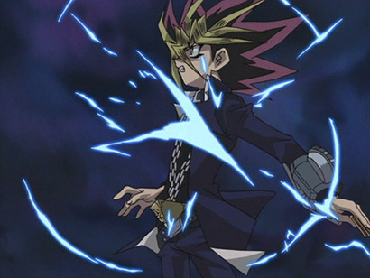 Yami Yugi recoiling after getting hit by a monster's effect in episode 140