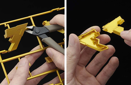 Remove the pieces of the Millennium Puzzle model kit from the runners and snap them together