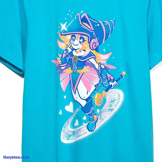 Close-up of the Dark Magician Girl shirt by The Yetee