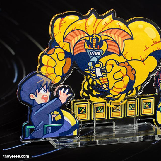 Close-up of the Obliterate acrylic standee by The Yetee