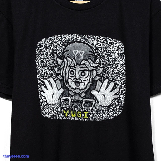 Close-up of the Grandpa TV shirt by The Yetee
