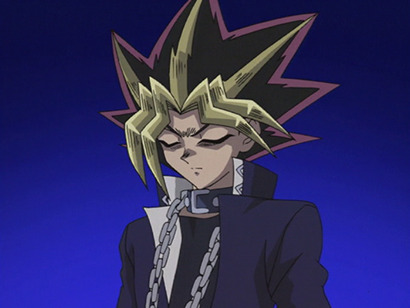 Yami Yugi, eyes closed and deep in thought in episode 138