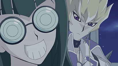 Carly Carmine smiling impishly while attempting to cheer up Jack Atlas in Yu-Gi-Oh! 5D's episode 32