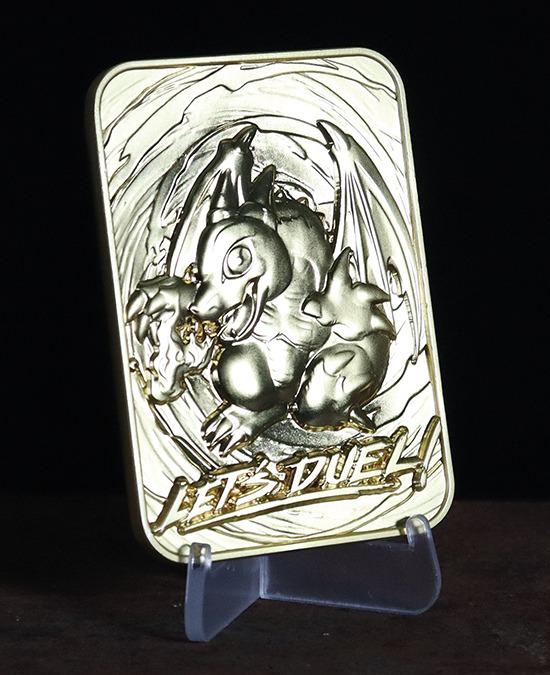 Baby Dragon 24-karat gold-plated metal card by Fanattik on a display stand