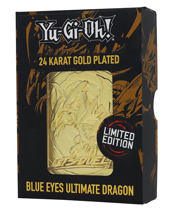 Blue-Eyes Ultimate Dragon 24-karat gold-plated metal card by Fanattik in its display box