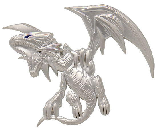Close-up of the Blue-Eyes White Dragon .999 Silver Plated Premium Pin Badge by Fanattik