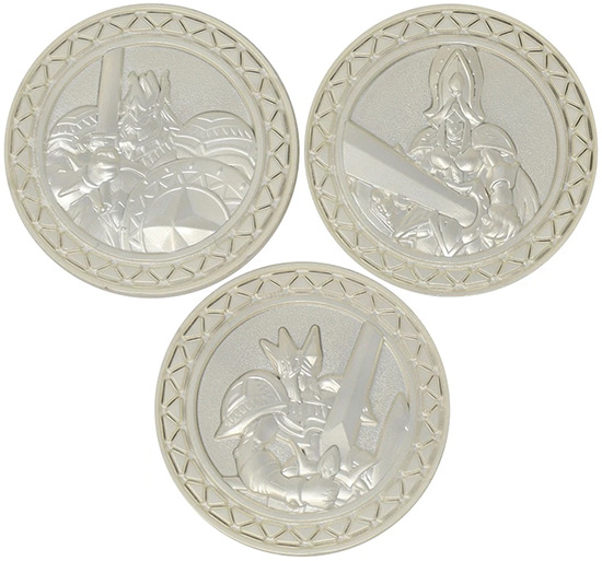 Close-up of the coins in the Knight's Coin Collection set by Fanattik
